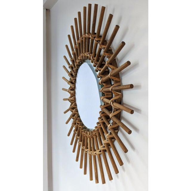 Boho Chic Rattan and Wooden Starburst Mirror For Sale - Image 4 of 7
