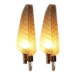 1940's Gold Murano Glass Feather Sconces - A Pair For Sale