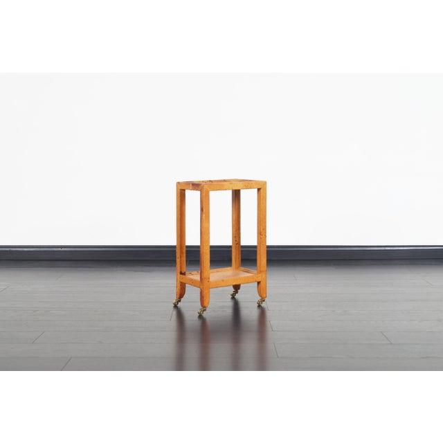 Karl Springer Vintage Ostrich Leather Table by Karl Springer For Sale - Image 4 of 9