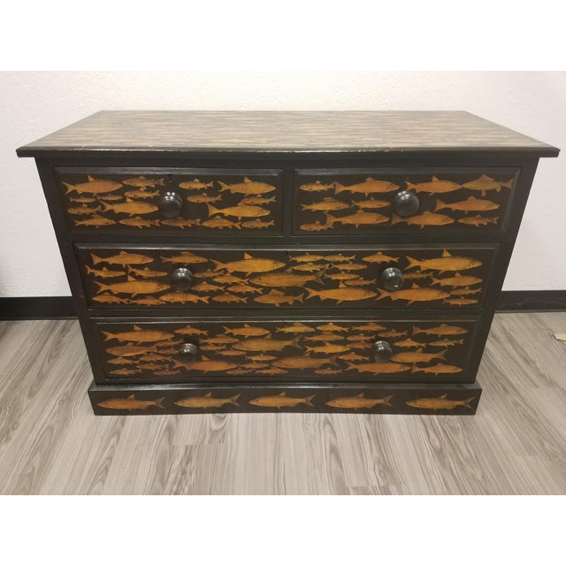 Antique English Fish Decoupage Chest of Drawers - Two Drawers Over Two Drawers For Sale - Image 13 of 13
