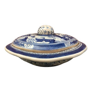 Rustic Stoneware Blue & White Chinoiserie Covered Dish For Sale