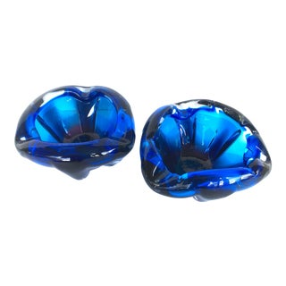 Vintage Blue Glass Ashtrays - a Pair