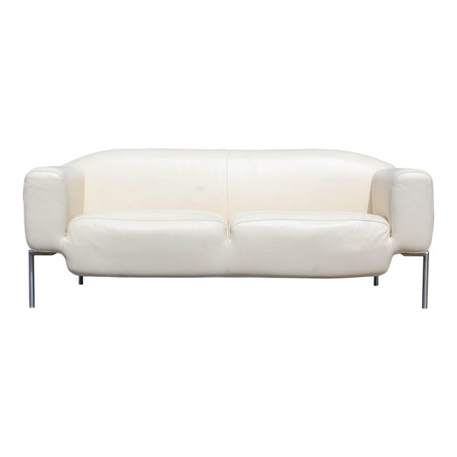 Contemporary Modern White Leather Sofa on Steel Frame B&b Minotti ...