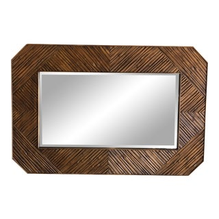 1970s Vintage Bamboo Wall Mirror For Sale