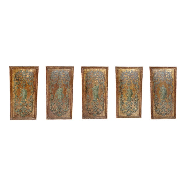 18th century Italian Neoclassical Paint and Parcel Gilt Panels / Roman Goddesses / Muses - Image 1 of 10