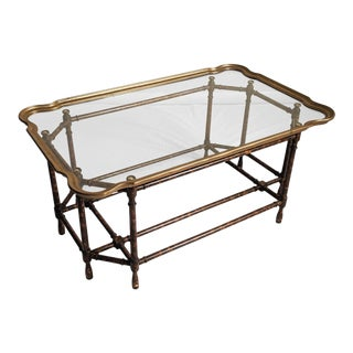 Hollywood Regency Baker Brass & Glass Tray Top Coffee Table For Sale