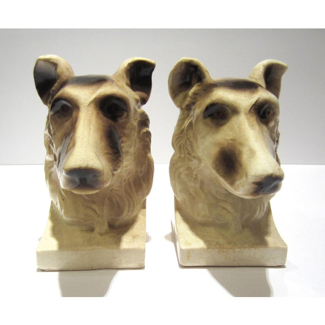 Antique White 1950s Vintage Ceramic Dog Bookends - A Pair For Sale - Image 8 of 13