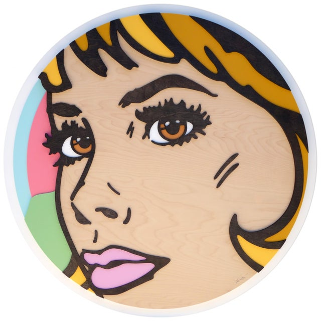 Wood Forever and a Day Pop Art Painting on Birch Wood For Sale - Image 7 of 7