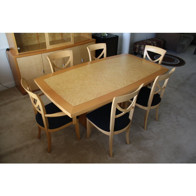7 Piece Italian Excelsior Burl Maple Dining Set