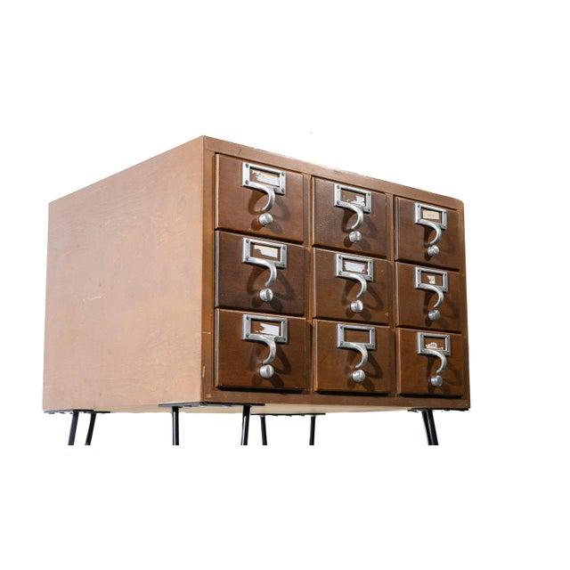 Brown Vintage Hairpin Leg Card Catalogue Side Tables - a Pair For Sale - Image 8 of 9