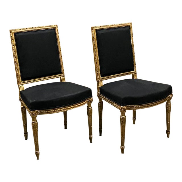 19th Century French Louis XVI Giltwood Chairs - a Pair For Sale