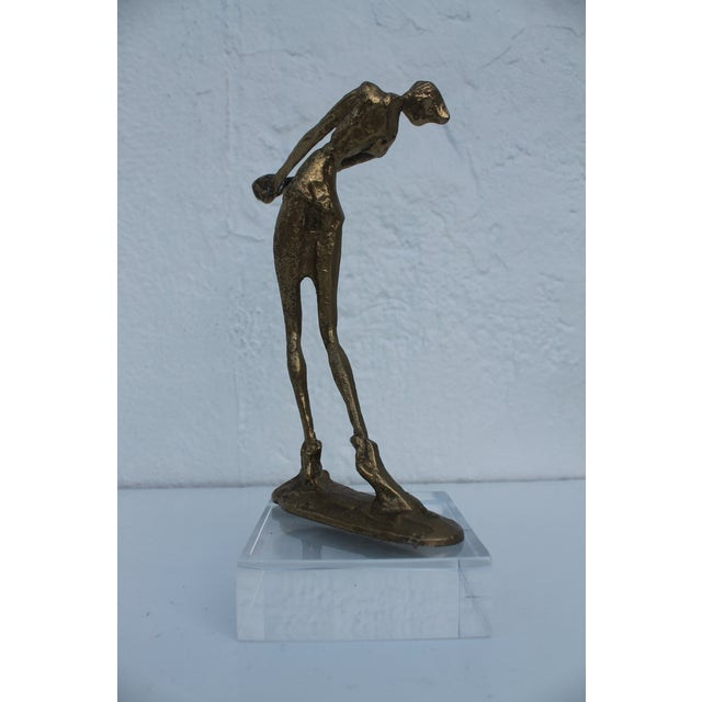Brutalist Giacometti Style Decorative Brass Sculpture . For Sale - Image 4 of 7