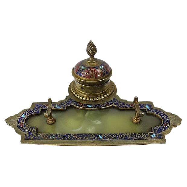 Antique French Cloisonné Inkwell - Image 1 of 3