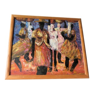 "1960s Abstract Oil Painting on Canvas, ""Jamaican Ladies"" For Sale"