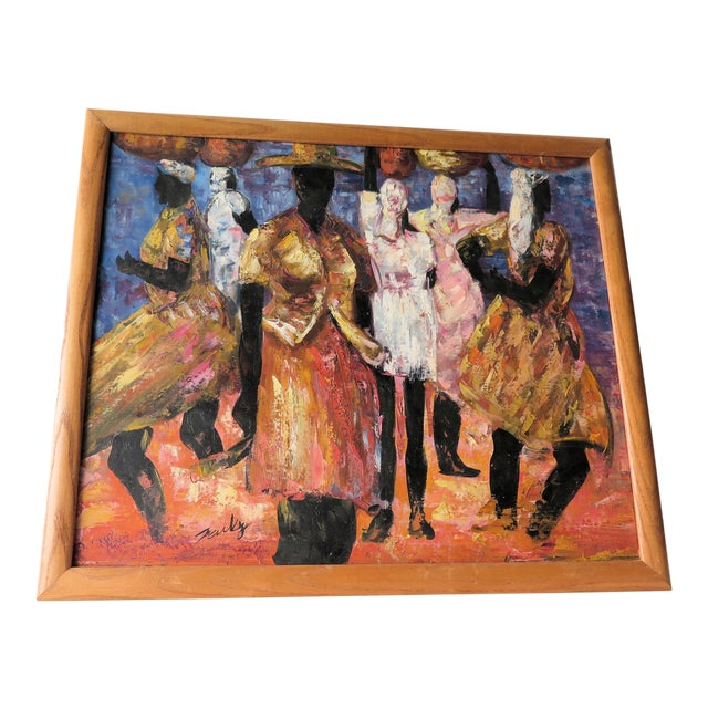 """1960s Abstract Oil Painting on Canvas, """"Jamaican Ladies"""" For Sale"""