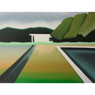 """""""Abstract Landscape Poolside"""" Contemporary Painting 36"""" X 48"""" For Sale"""