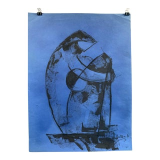 "1980s ""Figure on Blue"" Painting Leon Collard For Sale"