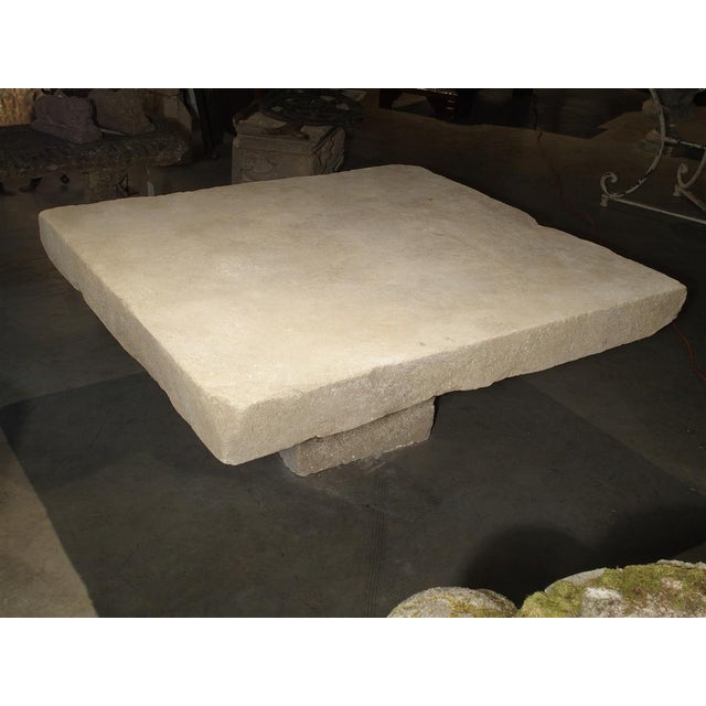 Traditional Large Limestone Coffee Table From Provence, France For Sale - Image 3 of 12