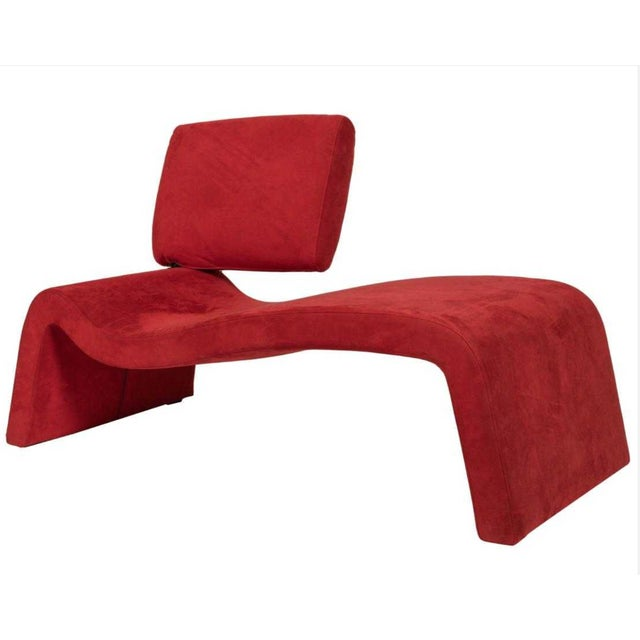 Playful and unique red suede Italian chaise with pivoting headrest. Great statement piece in any room. at pirelaatelier. com