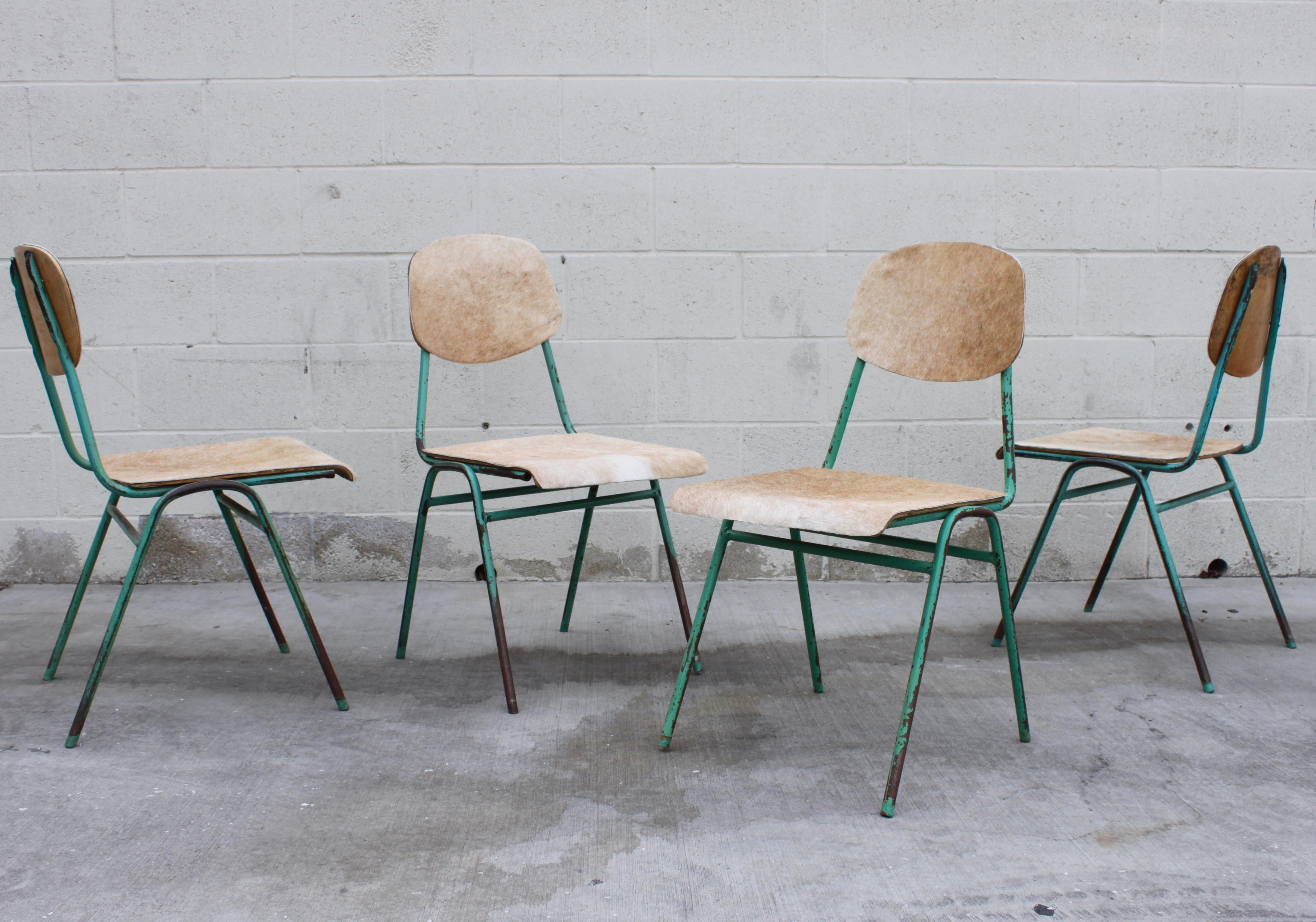 Vintage French Stacking Steel, Bentwood And Leather Schoolhouse Dining  Chairs   Set Of 4