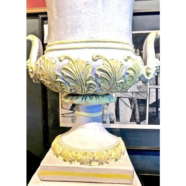 Italian Italian Glazed Terra Cotta Urn on Pedestal For Sale - Image 3 of 10