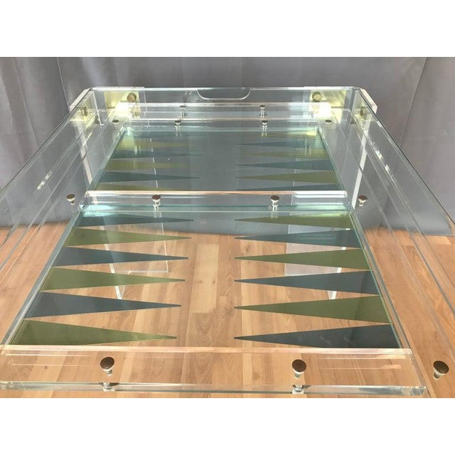Lucite and Brass Backgammon Game Table in the Manner of Charles Jones For Sale - Image 9 of 13