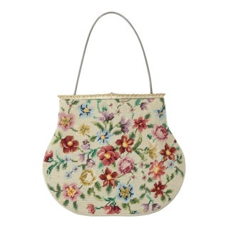 1950s Vintage Switkes Floral Needlepoint Handbag With Decorated Frame For Sale