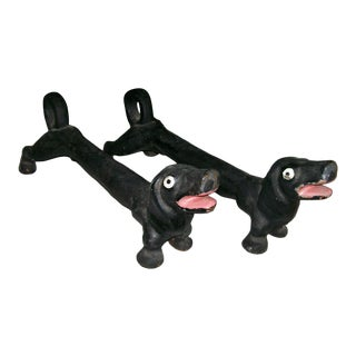 Black Iron Fireplace Dogs - A Pair For Sale