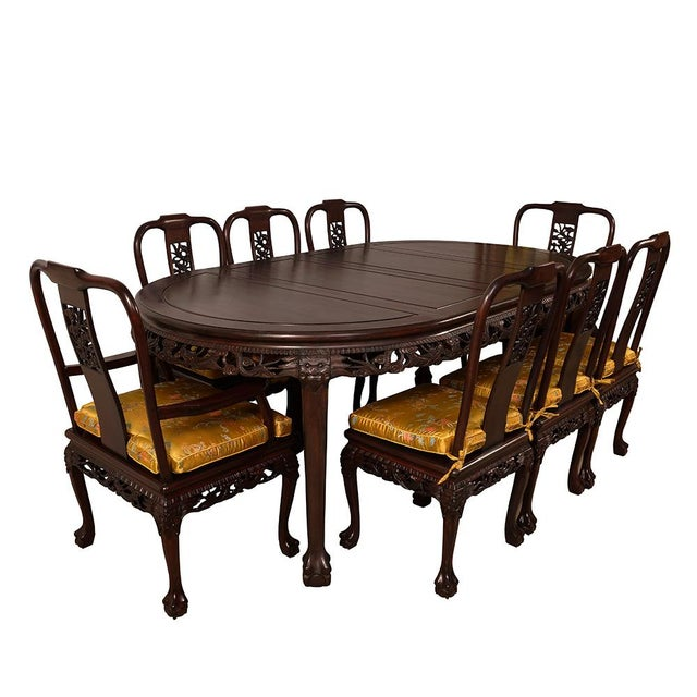 Look at this set of gorgeous Chinese Antique Rosewood Dining Table with 8 matching chairs. It is made from solid rosewood...