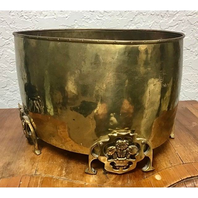 English Brass Prince of Wales Footed Planter For Sale - Image 9 of 9
