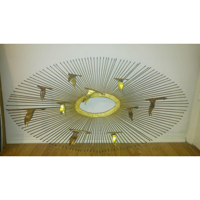 1960s Mid-Century Modern Curtis Jere Sunburst and Birds Sculpture Wall Art For Sale - Image 5 of 5