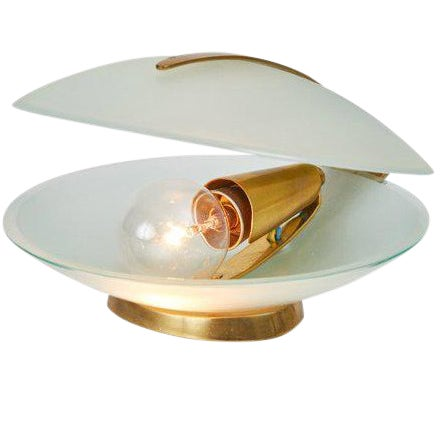 1960s Vintage Max Ingrand for Fontana Arte Glass and Brass Shell Table Lamp For Sale