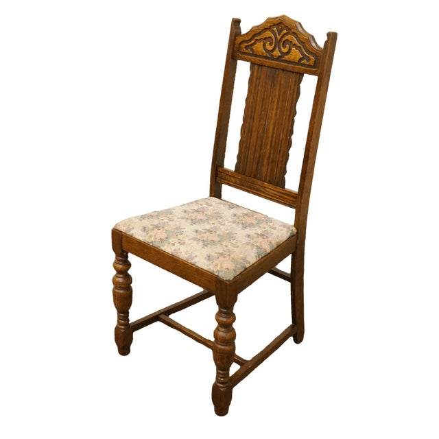 """1920's Antique Vintage Gothic Revival Jacobean Dining Side Chair 41.5"""" High 19"""" Wide 20.5"""" Deep Seat: 19"""" High We..."""