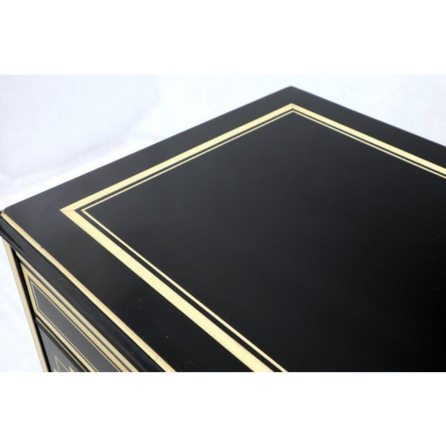 Stunning director black lacquer and ivory beige dresser. In style of Maison Jensen. NYC are delivery starts from $175.