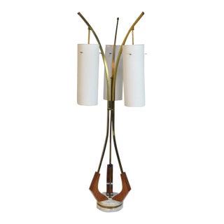 Vintage Mid-Century Danish Modern 3 Way Marble Teak Brass Glass Shade Table Lamp