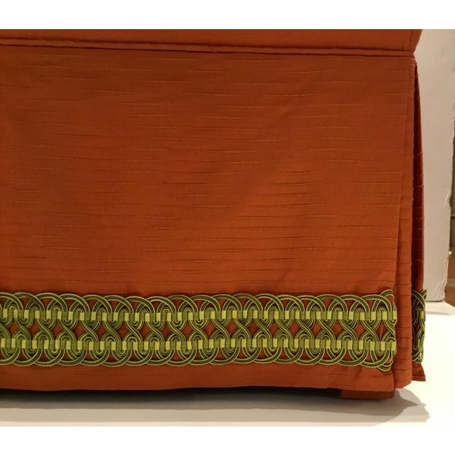 Traditional Custom Peach Ottomans With Decorative Green Band Pair For Sale - Image 4 of 6