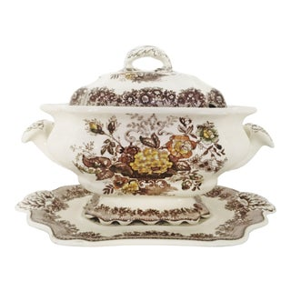 19th Centruy Mason Large Ascot Soup Tureen and Underplate For Sale