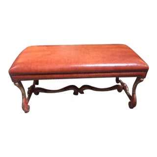 1970s Traditional Thierien Wood & Leather Bench