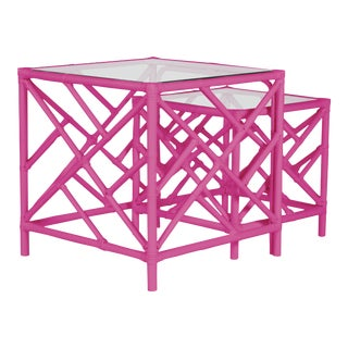 Chippendale Nesting Tables - Bright Pink For Sale