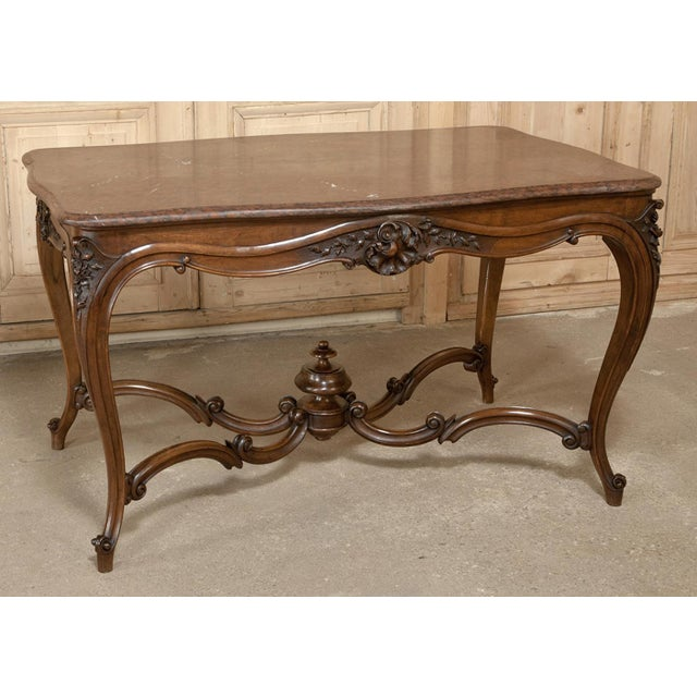 19th Century French Louis XV Rouge Marble Top Walnut Library Table For Sale - Image 4 of 10