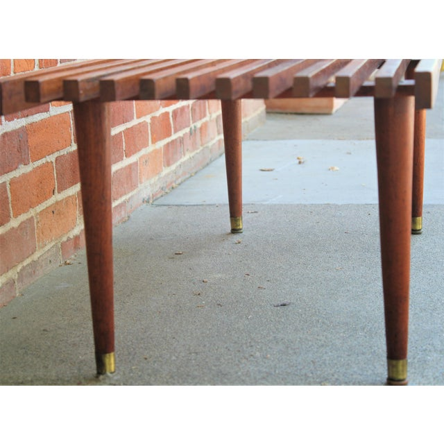 Mid-Century Modern Walnut Slat Bench/Coffee Table For Sale - Image 9 of 11