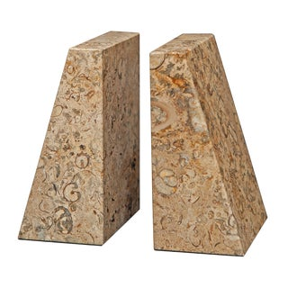 Tan Marble Bookends - a Pair For Sale
