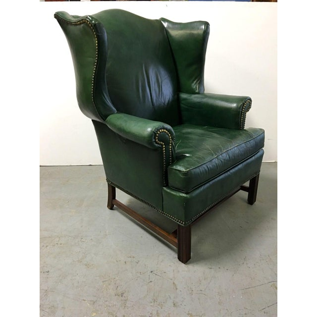 Vintage Green Leather Wingback Chairs - A Pair For Sale - Image 5 of 11