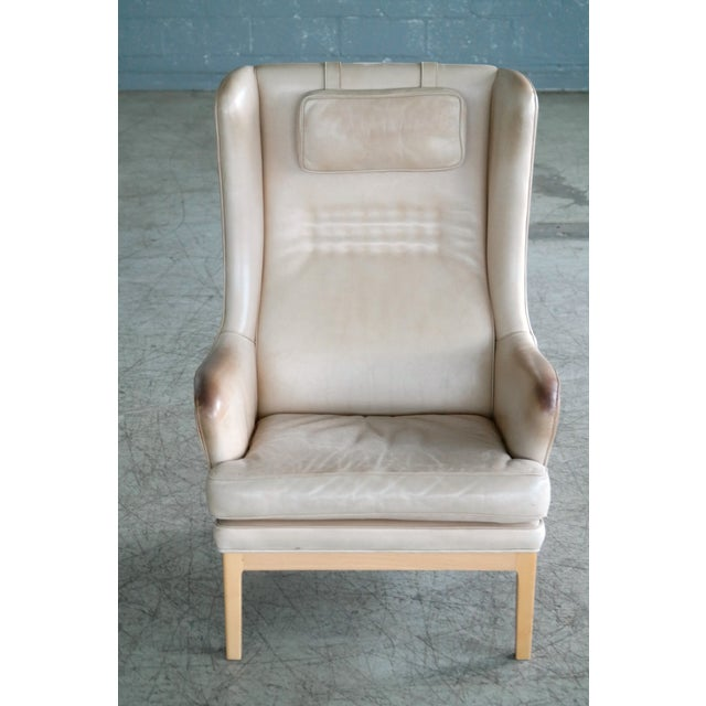 Mid-Century Modern Midcentury Scandinavian Arne Norell High Back Lounge Chair in Worn Tan Leather For Sale - Image 3 of 10