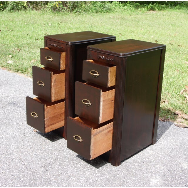 Walnut Antique Pair Art Deco Walnut Nightstands End Tables Bedroom Stands For Sale - Image 7 of 13