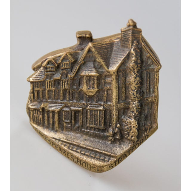 Charming solid brass petite door knocker depicting Shakespeare's House. Marked England on reverse. This fine door knocker...