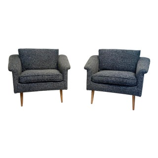 Mid-Century Modern Adrian Perarsall Style Low Profile Club Chairs - a Pair For Sale