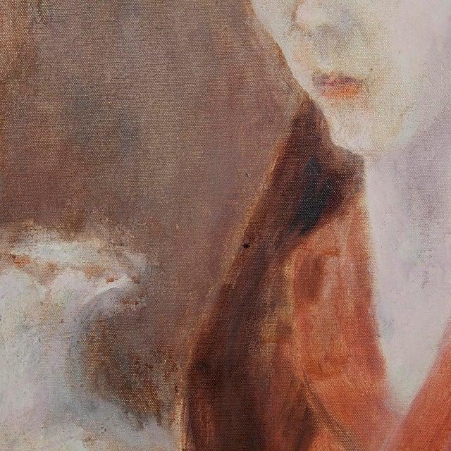Portraiture 1960s Vintage Thea Wisser Portrait of a Woman Painting For Sale - Image 3 of 4