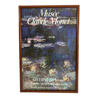 Vintage 1990's Monet at Giverny French Exhibit Waterlilies Poster For Sale