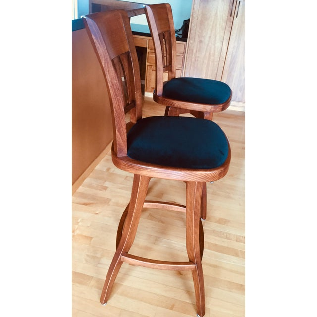 These two lovely bar stools were custom made by Dinec to accent our kitchen bar counter. They have a very comfortable,...